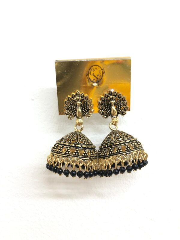 Oxidized Golden Plated With Black Pearls Peacock Earrings 010